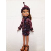 Shaded purple sweater and hat for 10inch Bratz doll. OOAK hand knitted hat and coat for skinny doll. Ready to ship doll clothes. - Bratz Gifts