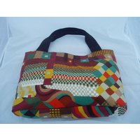 Handmade Tote Handbag large Deluxe Shoulder Bag from Vintage Liberty of London Bauhaus pattern fabric Free UK PP - Shoulder Bag Gifts