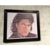 Michael Jackson word cloud containing the names of Top 20 hits and album tracks in black or silver polcore frame. Great gift, Christmas. - Michael Jackson Gifts
