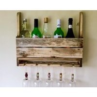 Rustic Wine Rack  Wine Glass Storage, reclaimed pallet wood 12 bottle/spirits rack, wine gift, kitchen storage, house warming, home bar - Warming Gifts