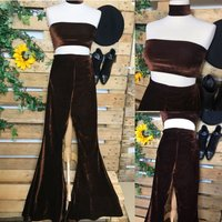 Pants only Amazing handmade high waisted stretchy chocolate brown velvet bellbottom flares  custom made to order  70s boho - Custom Gifts