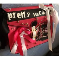 Pretty Vacant Sex Pistols Customised One of a kind Studded hand painted faux leather satchel bag hot pink black white ribbons womens handbag - Sex Pistols Gifts