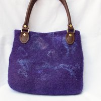Purple handbag  felted bag leather handleswet felted pursewedding birthday gift - Handbags Gifts