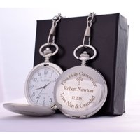Laser Engraved FIRST HOLY COMMUNION Design Pocket Watch In Personalised Silk Gift Box - First Holy Communion Gifts