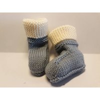 Merino Wool Baby Booties Stayon Ugg Boot Design Grey Blue Sizes from Newborn 0  3 Months Baby Boots Socks 100% Australian Merino Wool - Ugg Gifts