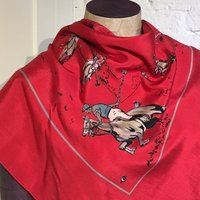 Vintage 1950s Novelty Print Silk Twill Scarf  Polo Match, Polo Players, Equestrian - Polo Gifts