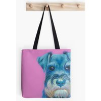 Pink  Schnauzer  Dog Lover  Tote Bag  Handbag  Shopping Bag  Shoulder Bag  Cotton Canvas  Kirstin Wood Artist  Original Art - Artist Gifts