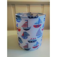 Lantern Night Light in Colourful Boat Fabric  Safe Electronic Tealight - Electronic Gifts