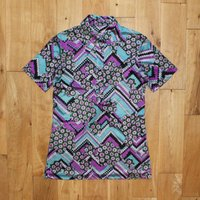 Amazing True Vintage 60s Patterned Polo Shirt Button Front Top UK Size 16 Blue/Purple/Black - Polo Gifts