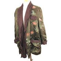 Vintage robe Chinese embroidered silk dressing gown dark brown silky quilted unisex smoking jacket damaged large UK 16 midi - Smoking Gifts