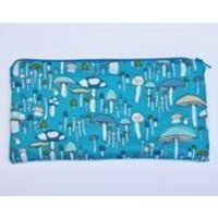 Mushroom Pencil Case, Long Zippered Pouch, Make Up and Cosmetics Case, Blue Purse - Mushroom Gifts
