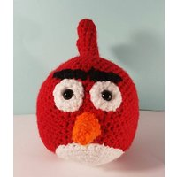 Crochet  Red angry bird  Angry Birds  Gamer gifts  Vegan toy  Gift for vegan  gift for gamer  Retro gamer  knitted toy  angry birds - Angry Birds Gifts