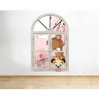 J743 Teddy Bears Baby Nursery Pink Window Wall Decal 3D Art Stickers Vinyl Room Kids Bedroom Baby Nursery Cool Livingroom Hall Boys Girls - Teddy Bears Gifts