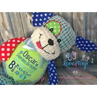 Personalised Dog Teddy Bear, Cubby teddy bear, Embroidered Baby Teddy, New baby gift, Harlequin Cubbies, Personalised teddy bears - Teddy Bears Gifts