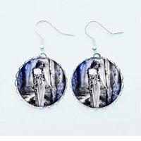 Edwardian Lady Earrings Pendant Necklace Ring Pin Badge Wood Nymph Fairy Vintage Grey Blue Photo Feminine Feminist Jewellery - Fairy Gifts