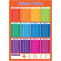 A3 Division Tables Poster Maths Educational Learning Teaching Resource - Educational Gifts