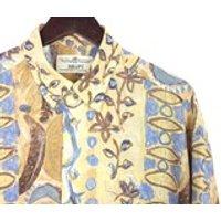 HAWAIIAN Shirt Vintage 80s FLORAL Crazy Abstract Hawaii Hula Short Sleeve Button Up Shirt  Size Medium Large by Haupt  Festival Holiday - Hawaiian Gifts