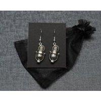 Welcome to Night Vale radio DJ microphone earrings  silver tone  cosplay prop jewellery / NVCR fandom jewelry - Dj Gifts