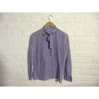 Vintage purple lilac polka dot blouse top with peter pan collar and tie collar  UK 8 EU 36 US 6 - Lilac Gifts