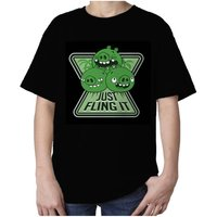 Angry Birds Pigs Minions Text Fling Official Kids TShirt (Black) - Angry Birds Gifts