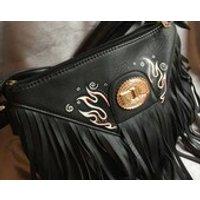 Hand Painted Flame Design Handbag. Black Faux Leather Fringe Shoulder Bag Retro Rockabilly Tattoo Style - Shoulder Bag Gifts