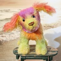 Pixie is a friendly and very well behaved one of a kind, artist teddy dog made in beautifully coloured hand dyed mohair by Barbara Ann Bears - Teddy Gifts
