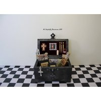 Dollhouse Miniature Gothic Spooky Vampire Hunter Slayer Trunk Chest in 1:12 scale - Vampire Gifts