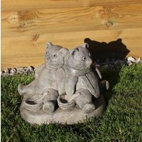 Bear with Bowls, Stone Statue, Garden Ornament, Home and Living, Outdoor Gardening Decor, Gift Idea, Cornwall Stoneware, Teddy Bears Statue - Teddy Bears Gifts