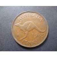 1943 Australia Penny coin featuring a Kangaroo and King George the Sixth, ideal for craft or jewellery making. - Kangaroo Gifts