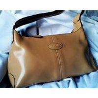 Sale Vintage Tods Leather Satchel Purse, Natural Beige Leather shoulder bag, Light brown Tan Tods Satchel shoulder bag - Shoulder Bag Gifts