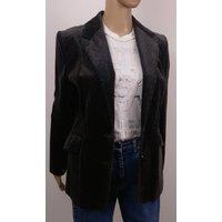 Vintage Black Grey Velvet Boyfriend Blazer. Speckled design. Size 12. Roulette Vintage. - Roulette Gifts