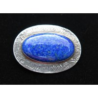 Antique Ruskin Style Ceramic And Pewter Brooch With Lapis Blue Cabochon Arts And Crafts - Arts And Crafts Gifts