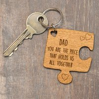 Personalised Oak Wooden Jigsaw Piece Fathers Day Keyring Holds Us All Together - Jigsaw Gifts