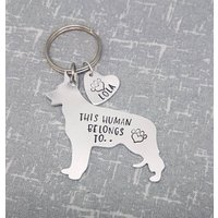 German Shepherd  This Human Belongs To.. Personalised Dog Keyring  Dog Lover  Dog Mum  Gift - Keyring Gifts
