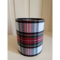 Lantern Night Light in Scottish White Tartan Fabric  Safe Electronic Tealight - Electronic Gifts