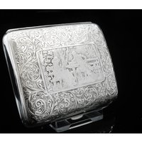 Antique Sterling Silver Cigarette Case with Romantic Couple, English, Smoking, Tobacco Hallmarked Birmingham 1900, William M Hayes, REF:367V - Smoking Gifts