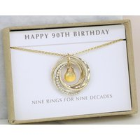 90th birthday gift for grandma, November birthday gift for 90th, November birthstone necklace, citrine jewellery  Lilia - 90th Birthday Gifts