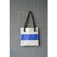 Wyatt and Jack Made in UK Upcycled Bouncy Castle PVC Tote Shopper Bag in Navy Blue and Concrete Grey - Bouncy Gifts