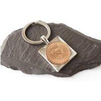 1948 Farthing Coin Keyring, Jenny Wren, 70th Birthday Keyring, Square Coin Keyring, 1948 Birthday, Resin Keyring, Jenny Keyring, UK Seller - 70th Birthday Gifts