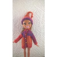 Flame coloured sweater and hat for 10inch Bratz type doll. Hand knit OOAK coat and hat for skinny fashion doll.Orange purple doll clothes. - Bratz Gifts