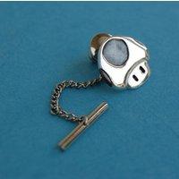 Tie pin  Sterling silver Mario mushroom tie tack - Mushroom Gifts