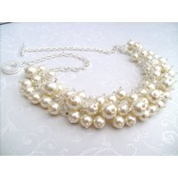 Pearl Beaded Necklace, Bridal Jewelry, Cluster Necklace, Chunky Necklace, Bridesmaid Gift, Custom Colours  Pearl and Crystals by Kim Smith - Custom Gifts