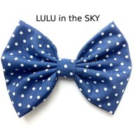 Rockabilly Pin up Blue with white Polka Dot Hair Bow Clip Nautical - Hair Gifts