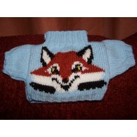 Hand Knitted Blue Sweater with Cute Fox Face to fit Build a Bear animals - Bear Gifts
