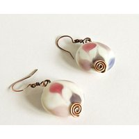 Copper Earrings Pink White Lampwork Beads Antiqued Copper Celtic Spirals Pink White Lampwork Beads Custom Copper Findings - Custom Gifts