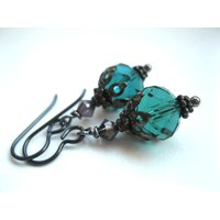Gothic Bauble Earrings. Niobium for Sensitive Ears. Crystal Lanterns. Custom Colours. MADE TO ORDER - Custom Gifts