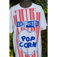Punk Tshirt  Sex Pistols  Popcorn Inside Out  Blue Red  Small 36 Unisex Westwood Seditionaries Punk styleWarhol Pop Art style - Sex Pistols Gifts