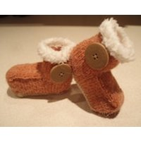 Hand knitted brown booties trimmed with Ugg button  range of sizes to fit 012 months - Ugg Gifts