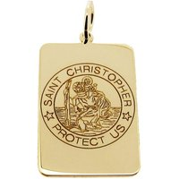 9ct Gold St Christopher Tag Pendant Necklace  Saint Christopher with Personalised Engraving  Chain Options Holy Communion Christening Gift - First Holy Communion Gifts