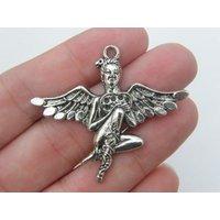2 Fairy pendants antique silver tone FB10 - Fairy Gifts